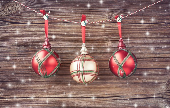 Picture decoration, balls, New Year, Christmas, christmas, balls, wood, merry, decoration