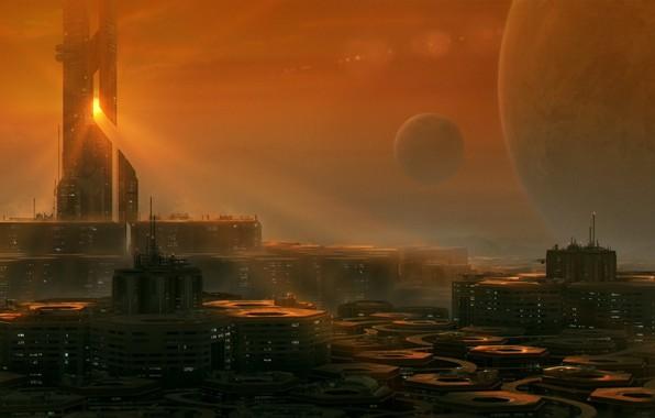 Picture city, future, art, planet, Sci-Fi