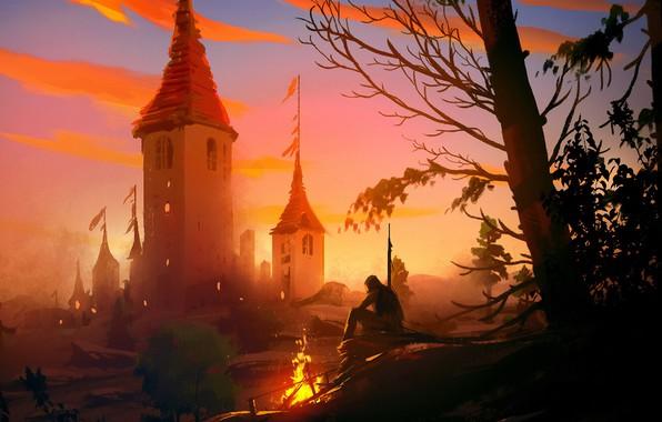 Picture fire, fantasy, trees, landscape, nature, man, painting, Castle, digital art, artwork, concept art, fantasy art, …