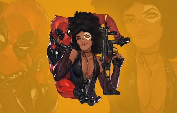 Picture chest, eyes, look, gun, gun, beauty, sticker, boobs, eyes, Deadpool, Marvel, Deadpool, costumes, look, babe, …