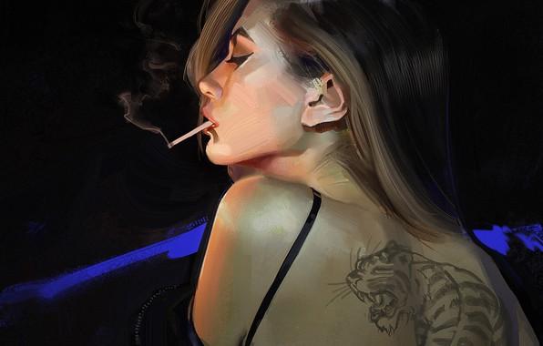Picture girl, back, tattoo, art, cigarette, profile, black background, art