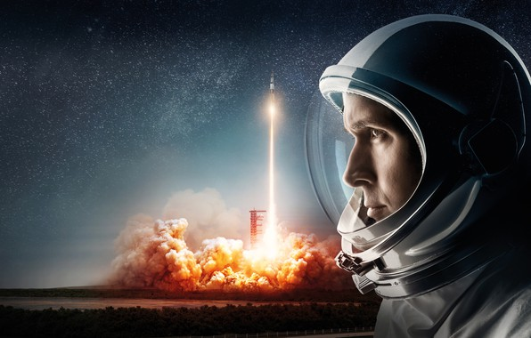 Picture field, the sky, space, background, fire, smoke, stars, rocket, the suit, start, the rise, astronaut, ...