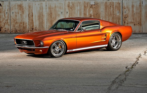 Picture Orange, Ford Mustang, Fastback, Muscle car, Custom, Widebody