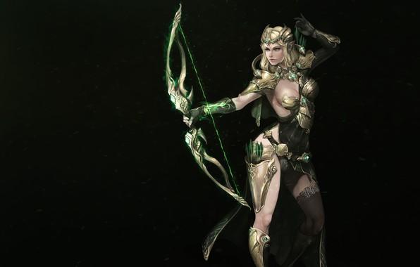 Picture Girl, Fantasy, Beautiful, Background, Elf, Armor, Bow, Arrows, Elven Archer, Han Park