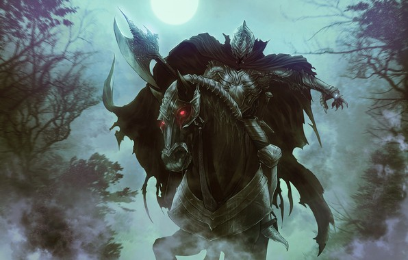Picture Horse, Night, Figure, The moon, Forest, Horse, The Lord Of The Rings, Art, Art, Ghost, …