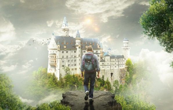 Picture the sky, trees, birds, fog, castle, fantasy, open, sleep, fantasy, male, journey, backpack, traveler, the …