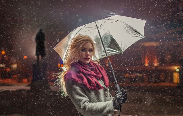 Picture look, snowflakes, night, the city, lights, glare, model, portrait, umbrella, makeup, scarf, silhouette, hairstyle, blonde, …