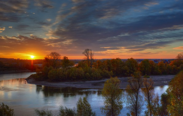 Picture autumn, trees, sunset, river, George Ants