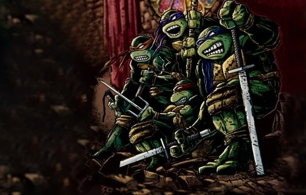 Picture TMNT, teenage mutant ninja turtles, donatello, leonardo, teenage mutant ninja turtles, michelangelo, comix, rafael