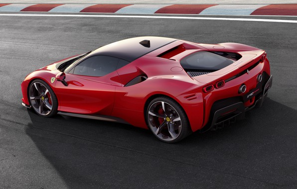 Picture lights, Ferrari, sports car, drives, Road, SF90