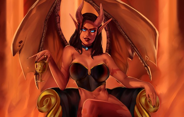 Picture look, wings, chair, fantasy, art, horns, demoness
