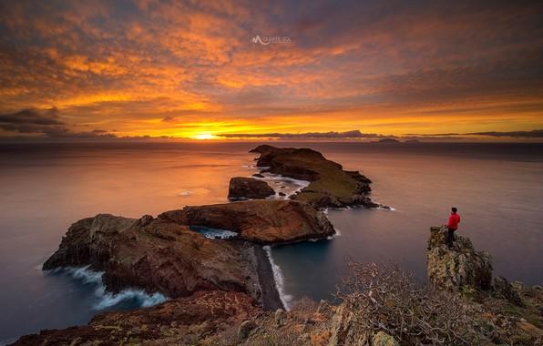 Picture sea, the sky, the sun, clouds, sunset, stones, rocks, coast, people, horizon, Portugal, Madeira, archipelago, …