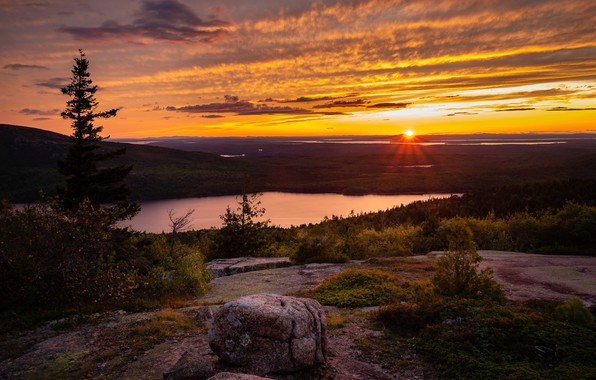 Picture Landscape, Sunset, Acadia, Cadillac Mountain