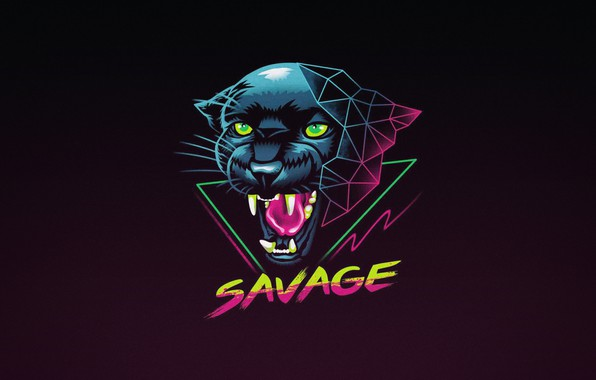 Picture Minimalism, Cat, Panther, Background, Art, Neon, Panther, Savage, Synth, Retrowave, Synthwave, New Retro Wave, Futuresynth, …