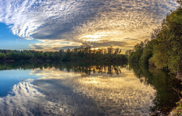 Picture autumn, the sky, water, sunset, nature, river