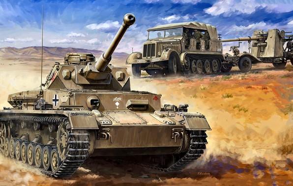 Picture Tank, Tractor, Anti-aircraft gun, The Wehrmacht, DAK, 15.Panzer-Division, Pz. VI Ausf. F2, 8.8 cm Flak …