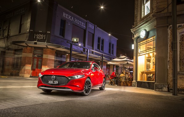 Picture night, Mazda, the hotel, red, Hatchback