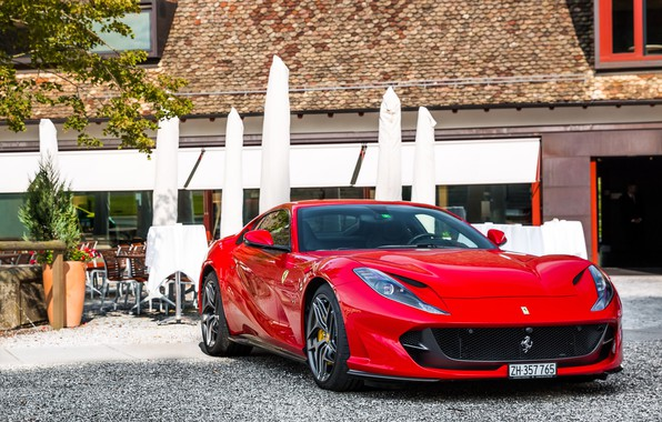 Picture Ferrari, red, yard, Superfast, 812
