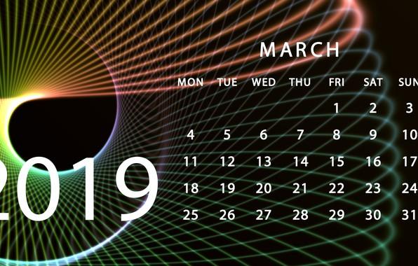 Picture calendar, March, 2019