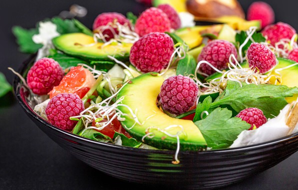 Picture macro, sprouts, berries, raspberry, plate, salad, avocado