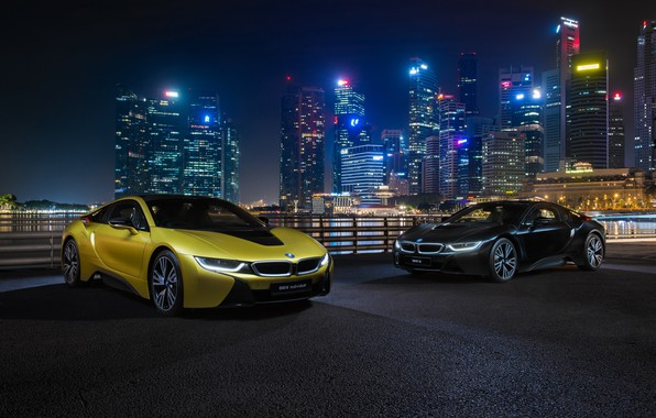 Wallpaper night city, BMW i8, Frozen Yellow Edition