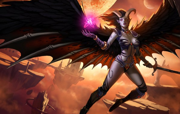 Picture girl, wings, the demon