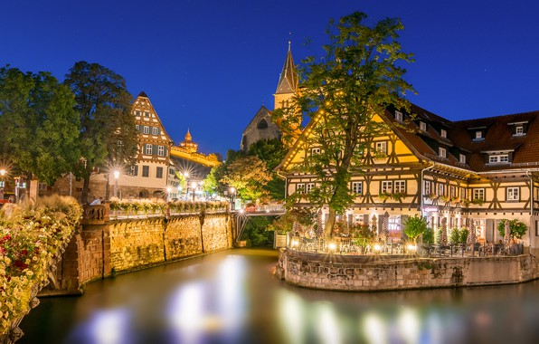 Picture trees, night, lights, home, Germany, lights, channel, Esslingen