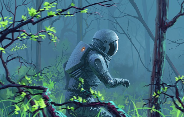 Picture Figure, The suit, Forest, Astronaut, Art, Art, Fiction, Astronaut, Roman Avseenko, by Roman Avseenko