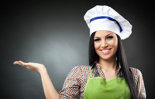 Picture look, pose, smile, background, hand, portrait, makeup, brunette, hairstyle, cook, shirt, beauty, palm, cap, apron