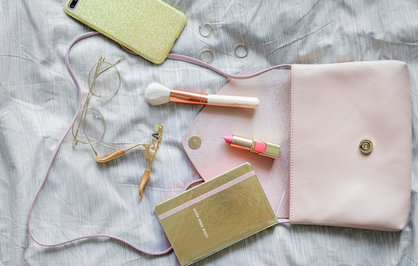 Picture lipstick, glasses, Notepad, brush, phone, bag