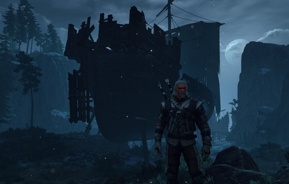 Picture night, ship, the Witcher, witcher 3