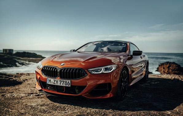 Picture rocks, shore, coupe, BMW, Coupe, 2018, 8-Series, dark orange, M850i xDrive, Eight, G15
