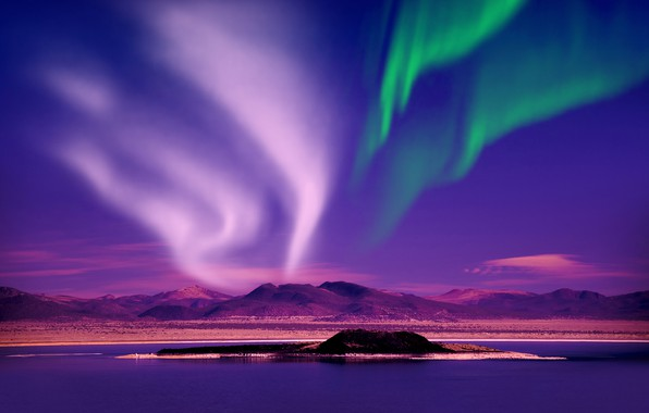 Picture photo, The sky, Nature, Night, River, Norway, Hills, Polar lights