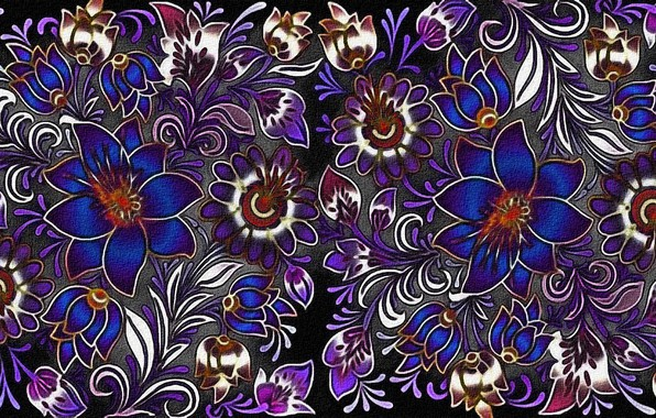 Picture canvas, figure, texture, black background, textiles, fabric with flower pattern, floral ornament, acrylic paint