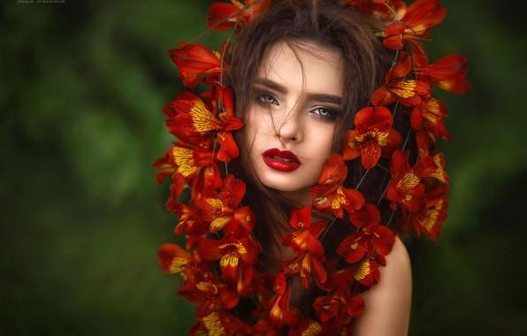 Picture look, girl, flowers, face, background, portrait, Ilona Bimova, Victoria Mayaki