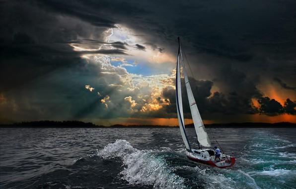 Picture sea, wave, landscape, clouds, storm, yacht