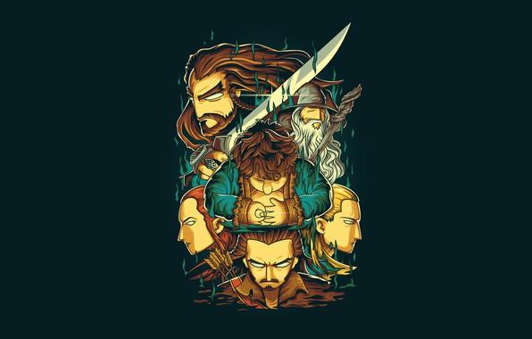 Picture Fantasy, Art, Dwarf, Vector, Background, Gandalf, Legolas, The Hobbit, Illustration, Hobbit, Elf, Minimalism, Sword, Tauriel, …