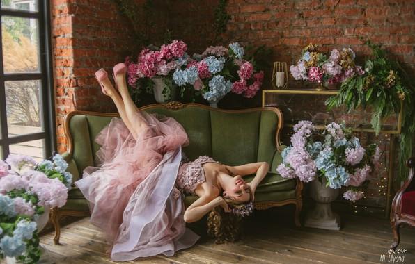 Picture girl, flowers, pose, style, mood, dress, hydrangea, Juliana Mizinova, Мария Нестерова