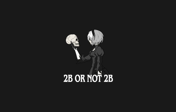 Picture girl, white, dress, minimalism, hair, grey background, 2b yorha, nier automata, to be or not …