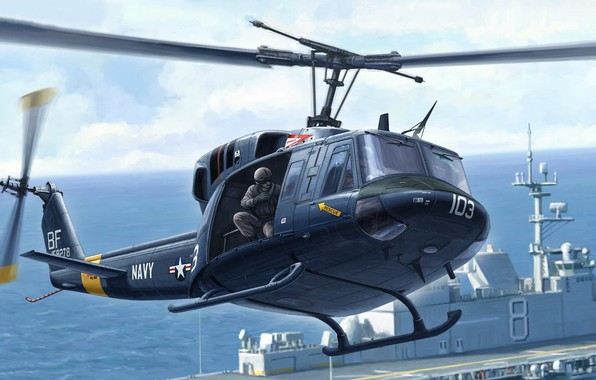 Picture Twin Huey, multi-purpose helicopter, twin-engined variant, UH-1N