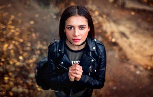 Picture look, pose, model, portrait, makeup, brunette, jacket, hairstyle, is, in black, bokeh, kozhanka, Alexander Biscuit, …