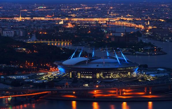 """Picture Night, Saint Petersburg, Zenit, Stadium, SPB, St. Petersburg, Saint Petersburg, The Stadium """"Saint-Petersburg"""", Stadium """"Sankt …"""