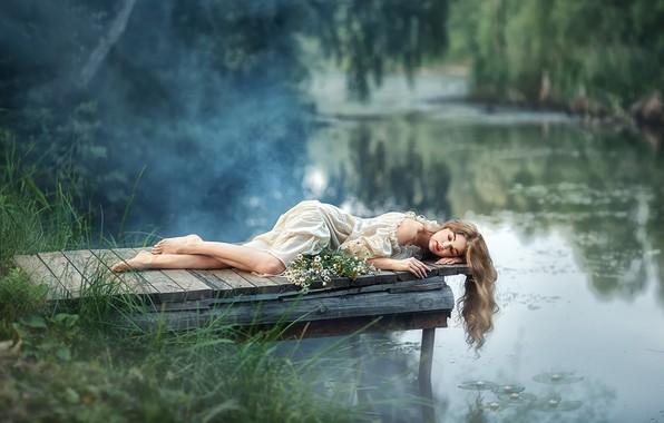 Picture girl, flowers, pose, river, mood, hair, chamomile, dress, bridges, closed eyes, Anastasia Barmina