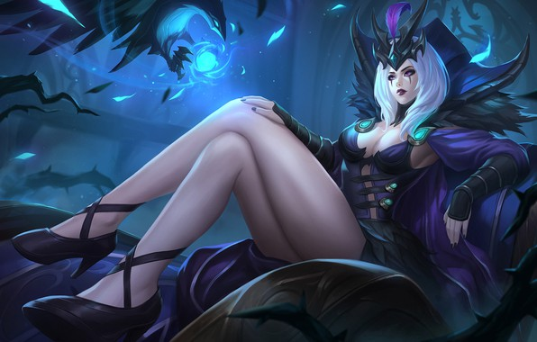 Picture girl, art, sitting, League of Legends, LoL, LeBlanc