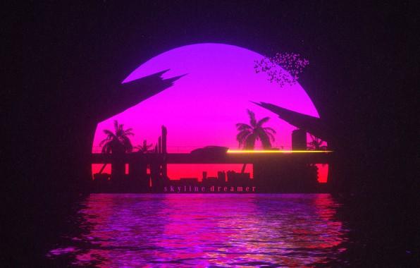 Picture Sunset, The sun, Water, Auto, Bridge, Music, Machine, Style, Background, 80s, Style, Neon, Illustration, 80's, …