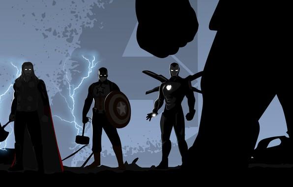 Picture Iron Man, Captain America, Thor, Avengers, Trinity, Thanos, Avengers: Endgame