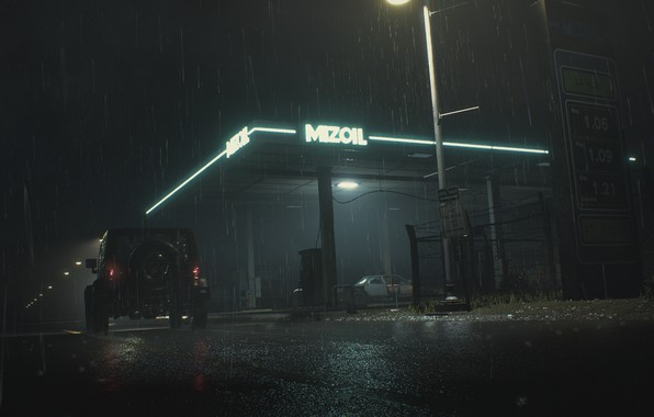 Picture night, rain, dressing, Neon, RESIDENT, RESIDENT EVIL, RESIDENT EVIL 2