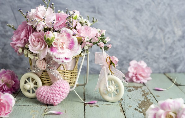 Picture love, flowers, heart, petals, bucket, love, pink, vintage, heart, wood, pink, flowers, beautiful, romantic