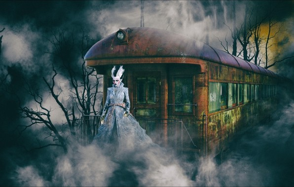 Picture horror, fantasy, Night, train