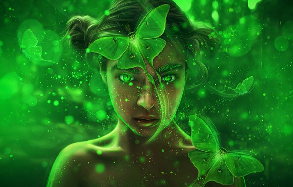 Picture girl, butterfly, abstraction, glare, background, fantasy, art, green, bokeh, Mystic Fairy Girl